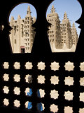 Djenné  the Great Mosque of Djenné from a Traditional Moroccan-Style Latticed Window  Mali