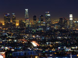 California  Los Angeles  City Lights and Downtown District Skyscrapers  USA