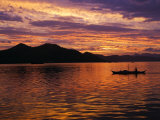 Palawan Province  Busuanga Island  Coron Town  Sunset over Coron Bay and Fishing Boat  Philippines