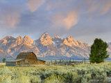 Historic Barn  Mormon Row and Teton Mountain Range  Grand Teton National Park  Wyoming  USA
