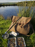 Wales  Conwy  A Trout Rod and Fly Fishing Equipment Beside a Hill Lake in North Wales  UK