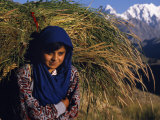Burusho Girl Returns Home with Fodder for Her Livestock in the Hunza Valley