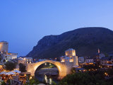 Balkans Bosnia Mostar Stari Most Peace Bridge on Neretva River Lit Up in the Evening