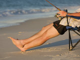 A Man Fishes from His Deck Chair in Platypus Bay on Fraser Island's West Coast  Australia