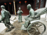 Jiangsu Province  Suzhou City  Museum of Opera and Theatre  a Bronze Statue a Rickshaw Outside the