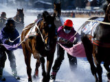 Skijouring  Skiing Behind a Race Horse at Full Gallop  on the Frozen Lake at St Moritz  Switzerland