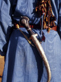 Berber Tribesman Wears a Knife on Sash over Shoulder and Blue Robe  Sahara Region of Morocco
