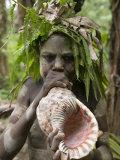 Tanna Island Fetukai  Native Dress-Young Boy with Sea Shell Horn  Vanuatu
