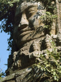 Detail of Carved Faces at Baray Temple  Angkor Wat  Cambodia
