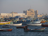 Colourful Fishing Boats in Eastern Harbour in Front of Citadel of Quatbai  Alexandria  Egypt