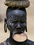 Woman of the Mursi Tribe  Her Clay Lip Plate Shows That She Is Married  Ethiopia