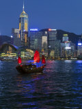 One of Last Remaining Chinese Sailing Junks  Victoria Harbour from Kowloon  Hong Kong  China  Asia