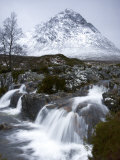 Coupall Falls and Buachaille Etive Mor in Winter  Glencoe  Scotland  UK