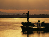 Lower Zambezi National Park  Fly Fishing for Tiger Fish from a Barge on the Zambezi River at Dawn