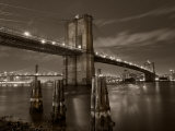 New York City  Manhattan  the Brooklyn and Manhattan Bridges Spanning the East River  USA