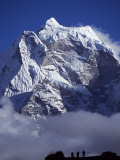 Climbers on Ridge in Dodh Koshir River Valley Photograph Himalayan Peak of Everest Range