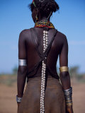 Young Dassanech Girl Wears Hair Partially Braided  Coated in Animal Fat and Ochre  Ethiopia
