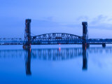 Alabama  Decatur  Old Southern Railway Bridge  Lift Bridge  Tennessee River  Dawn  Blue  USA