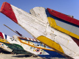 Mauritania  Colourful Fishing Boats on Shore at Plage Des Pecheurs Near the Capital of Nouakchott