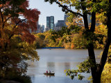 New York City  Manhattan  Central Park and the Grand Buildings across the Lake in Autumn  USA