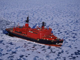 Franz Josef Land  Aerial View of Russian Nuclear-Powered Icebreaker 'Yamal' in Sea-Ice  Russia