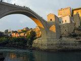 Balkans Bosnia Mostar Late Afternoon Light on Stari Most Peace Bridge