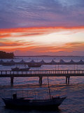 Camamu Bay  Island of Tinhare  Sunset over Jetty and Boats  Village of Morro De Sao Paulo  Brazil