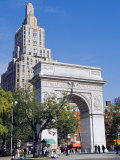 Washington Arch Stands in Washington Place with Backdrop of High Rise Buildings  Greenwich Village