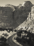 Utah  Virgin  Traffic on the Zion-Mt  Carmel Highway  Winter  USA