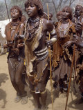 Hamar Women Dance  Sing and Blow Tin Trumpets in 'Jumping of Bull' Ceremony  Omo Delta  Ethiopia