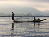 Intha Fisherman with Traditional Fish Trap  Unusual Leg-Rowing Technique  Lake Inle  Myanmar