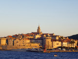 Dalmatia Coast Korcula Island Seafront Harbour View of Medieval Old Town and City Walls