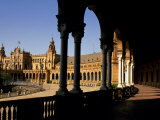 Elegant Facade of Plaza De Espana  Seville  Andalucia  Spain