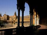 Elegant Facade of Plaza De Espana  Seville  Andalucia  Spain