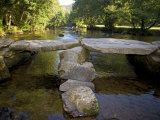 Tarr Steps a Prehistoric Clapper Bridge across the River Barle in Exmoor National Park  England