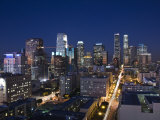 California  Los Angeles  Aerial View of Downtown from West 11th Street  Dusk  USA