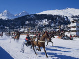 Trotting Race with Jockeys Driving Horse-Drawn Sleighs on the Frozen Lake at St Moritz