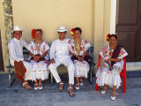 Members of a Folklore Dance Group Waiting to Perform  Merida  Yucatan State