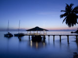 Seychelles  Praslin Island  Anse Bois De Rose  Pier at the Coco De Mer Hotel  Sunset