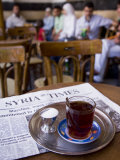 Drinking Tea in the Famous Al Nawfara Cafe in Old Damascus  Syria