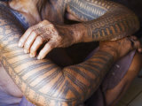 Luzon Island  Liglig Headhunters Village - Old Woman with Traditional Tattoo on Hands  Philippines