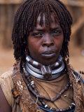 Hamar Woman in Village Square of Dimeka  Married Women Wear Two Heavy Steel Necklaces  Ethiopia