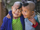Burma  Rakhine State  Gyi Dawma Village  Two Young Friends at Gyi Dawma Village  Myanmar