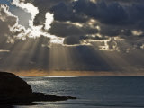 Victoria  Sun's Rays and Clouds across the Sea at Phillip Island  Australia
