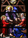Stained Glass Window of the Holy Family  Our Lady of Geneva Basilica  Geneva Switzerland  Europe