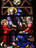 Stained Glass Window of the Holy Family  Our Lady of Geneva Basilica  Geneva Switzerland  Europe