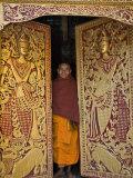 Burma  Wun Nyat  the Abbot Closes the Ornate Door to Beautiful Wun Nyat Monastery  Myanmar