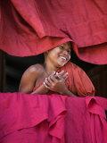Burma  Rakhine State  Sittwe  Young Novice Monk at Pathain Monastery Where 210 Monks Live  Myanmar
