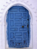 Chefchaouen Blue Door and Whitewashed Walls - Typical in Rif Mountains Town of Chefchaouen  Morocco