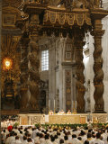 Easter Thursday Mass in St Peter's Basilica  Vatican  Rome  Lazio  Italy  Europe